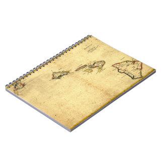 Vintage 1837 Hawaii Map - Hawaiian Islands Note Books