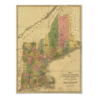 Vintage 1839  New England Map Poster