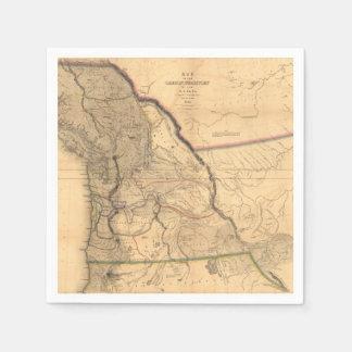 Vintage 1841 Oregon Pacific Northwest Map Disposable Napkins