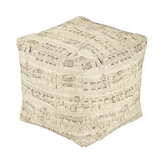 Vintage 1842 Chopin Music Sheet Notes Pouf
