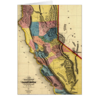 Vintage 1851 California Gold Region State Map Greeting Card