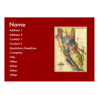 Vintage 1851 California Gold Region State Map Large Business Card