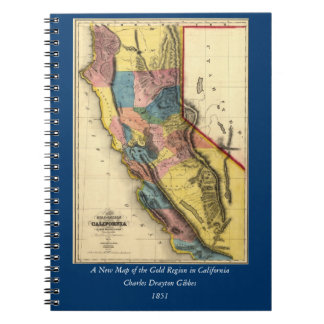Vintage 1851 California Gold Region State Map Note Books