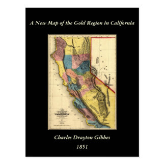 Vintage 1851 California Gold Region State Map Postcard