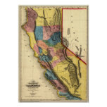 Vintage 1851 California Gold Region State Map Poster