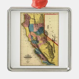 Vintage 1851 California Gold Region State Map Silver-Colored Square Ornament