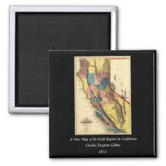 Vintage 1851 California Gold Region State Map Square Magnet