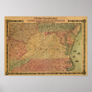 Vintage 1861 Map of Virginia, Maryland & Delaware Poster