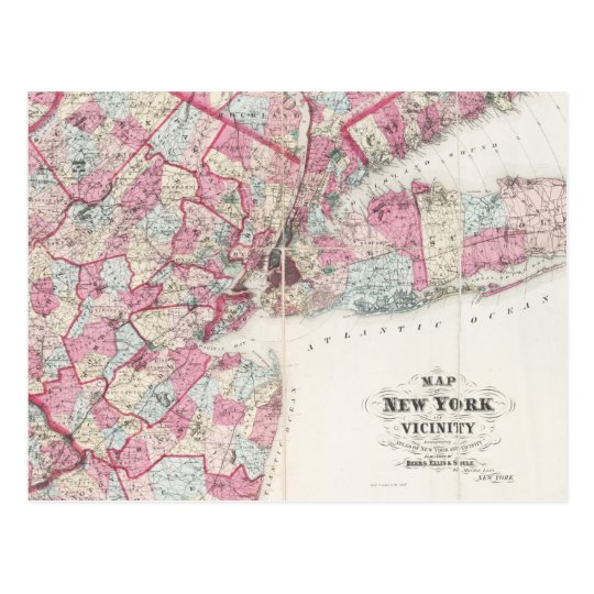 Vintage 1868 Map of New York Postcard