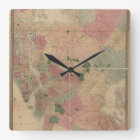Vintage 1872 Brooklyn Map - New York City, Queens Square Wall Clock