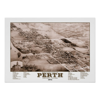 Vintage 1874 Perth Map Poster