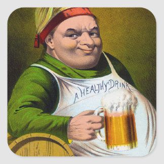Vintage 1879 Lager Bier on Oak Wood Square Sticker