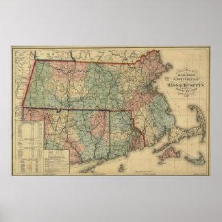 Vintage 1879 Massachusetts & Rhode Island Map Poster