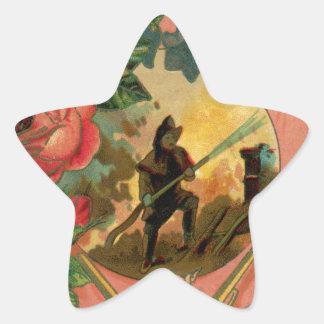 Vintage 1880's Fireman Firefighter Artwork Star Sticker