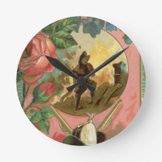 Vintage 1880's Fireman Firefighter Cover Round Clock