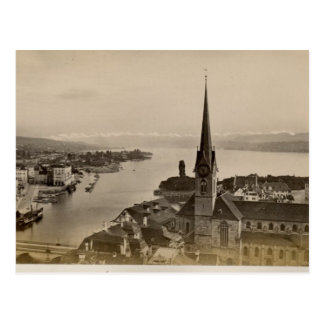 Vintage, 1890, Zurich and Lake Zurich Postcard