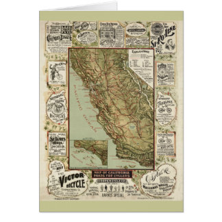 Vintage 1895 California Bicycle Cycling Map Card