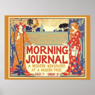 VINTAGE 1895 MORNING JOURNAL NEWSPAPER Cover Copy Poster