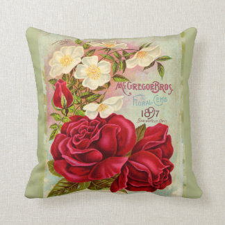 Vintage 1897 Cabbage Rose Seed Catalogue Throw Pillow