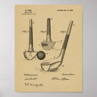 Vintage 1900 Golf Club Design Patent Art Print