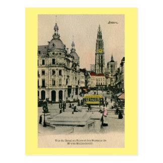 Vintage 1900s Antwerp Belgium Suikerrui, cathedral Postcard