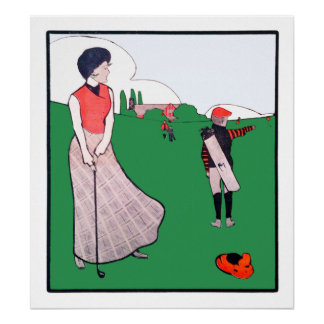 Vintage 1901 Golf Watercolour Archival Print