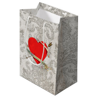 Vintage 1901 Valentine Heartwith Ribbon and Arrow Medium Gift Bag