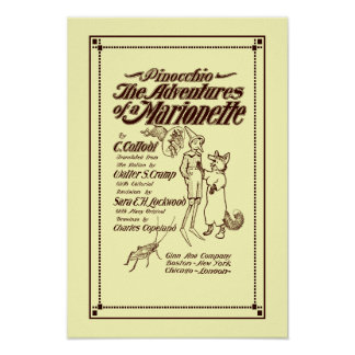 Vintage 1904 Pinocchio cover page Poster