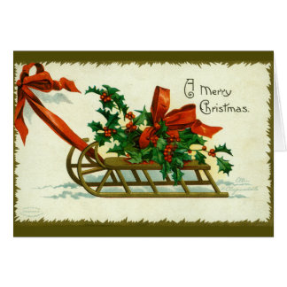 Vintage 1907 Christmas Sled with Holly Card