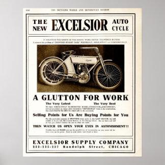 Vintage 1907 Excelsior motorycles advertising Poster