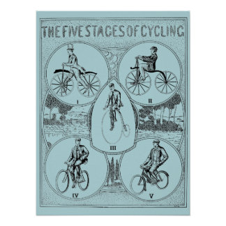 Vintage 1907 Five Stages of Bicycling Print