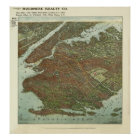 Vintage 1908 Brooklyn NY Bird's Eye View Map Poster