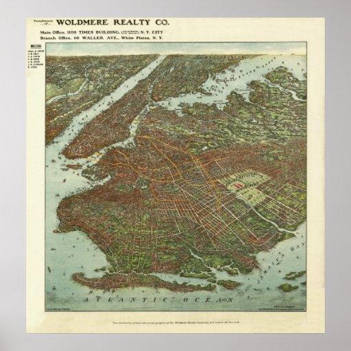 Eyeglass Frame Repair Brooklyn : Vintage 1908 Brooklyn NY Birds Eye View Map Print at ...