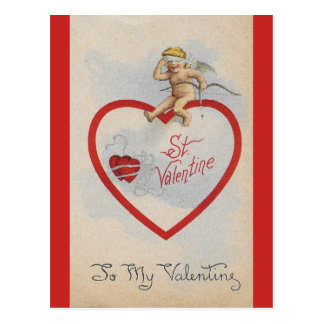 Vintage 1909 St. Valentine Heart with Cute Cherub Postcard