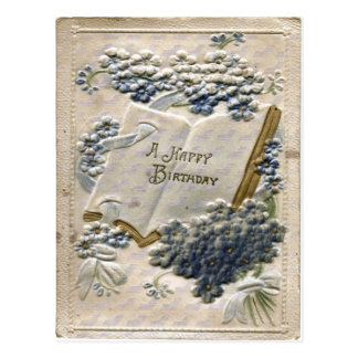 Vintage 1912 Embossed Silk and Velvet Birthday Postcard