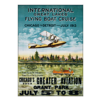 Vintage 1913 Flying Boat Cruise Poster