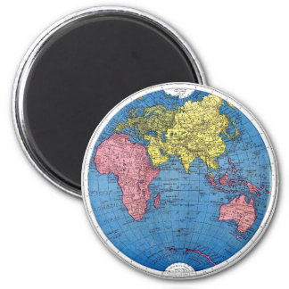 Vintage 1915 Map of the World Atlas Globe 2 Inch Round Magnet
