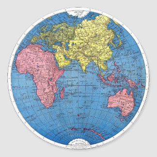 Vintage 1915 Map of the World Atlas Globe Classic Round Sticker