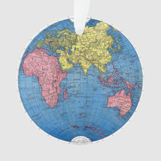 Vintage 1915 Map of the World Atlas Globe Ornament
