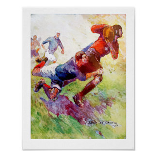 Vintage 1920 French Rugby - Watercolour Poster