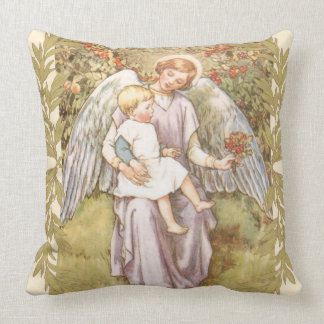 Vintage 1920 Guardian Angel Child Bough Throw Pillow