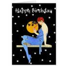 Vintage 1920's Flapper Lady Moon Stars Birthday Card