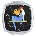 Vintage 1920's Flapper Lady Moon Stars Red Hair Vanity Mirror