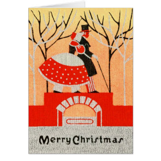 Vintage 1920s-1930s Christmas Couple Greeting Card