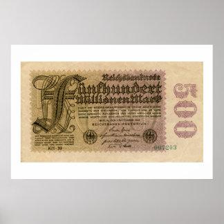 Vintage 1920s 500 Million German banknote Poster