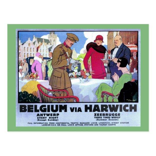 Vintage 1920s art deco Belgium travel ad Postcard