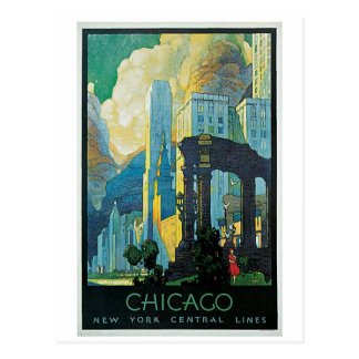 vintage 1920s Chicago city travel ad Postcard