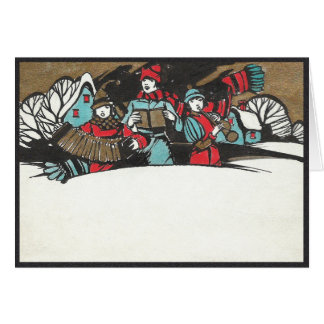 Vintage 1920's Children Caroling in a Snowdrift Card