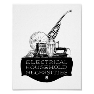 Vintage 1920s Electrical Appliances  Ad Poster