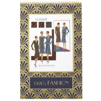 Vintage 1920s Fashion | Faux Gold Art Deco Wall Calendars